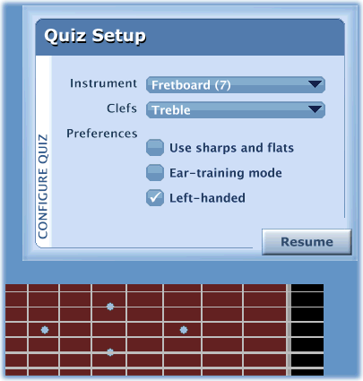 For ear-training mode, check the option in NoteCard's quiz set-up task